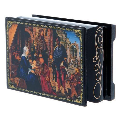 Scatoletta russa cartapesta L'Adorazione dei Magi 9X6 cm 2