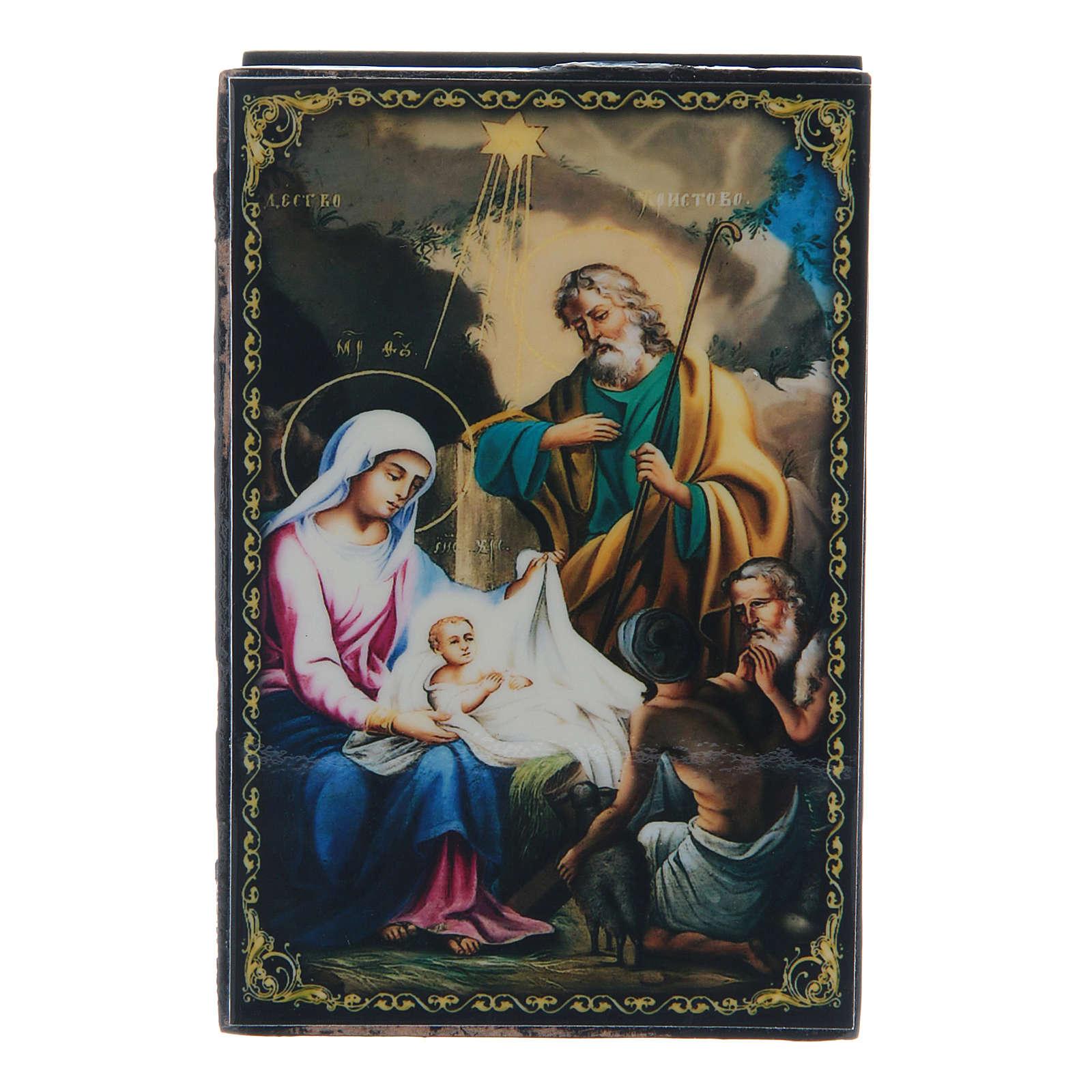 Russian lacquer box, Nativity of Christ 9x6 cm 4
