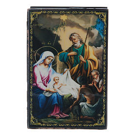 Scatola cartapesta russa La Nascita di Gesù Cristo 9X6 cm s1