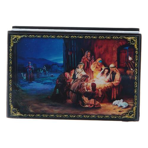 Lackdose aus Papiermaché Geburt Christi und Anbetung der Könige 9x6 cm 1