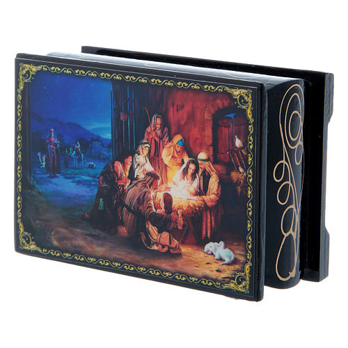 Russian lacquer box, The Nativity and the Adoration of the Magi 9x6 cm 2