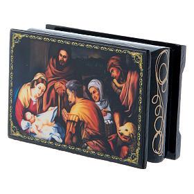 Scatoletta russa papier machè  La Nascita di Cristo 9X6 cm s2