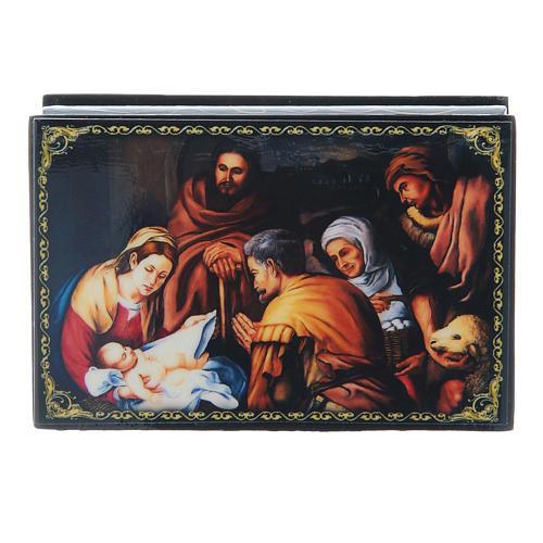 Scatoletta russa papier machè  La Nascita di Cristo 9X6 cm 1