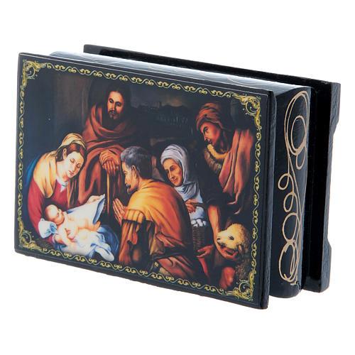 Scatoletta russa papier machè  La Nascita di Cristo 9X6 cm 2