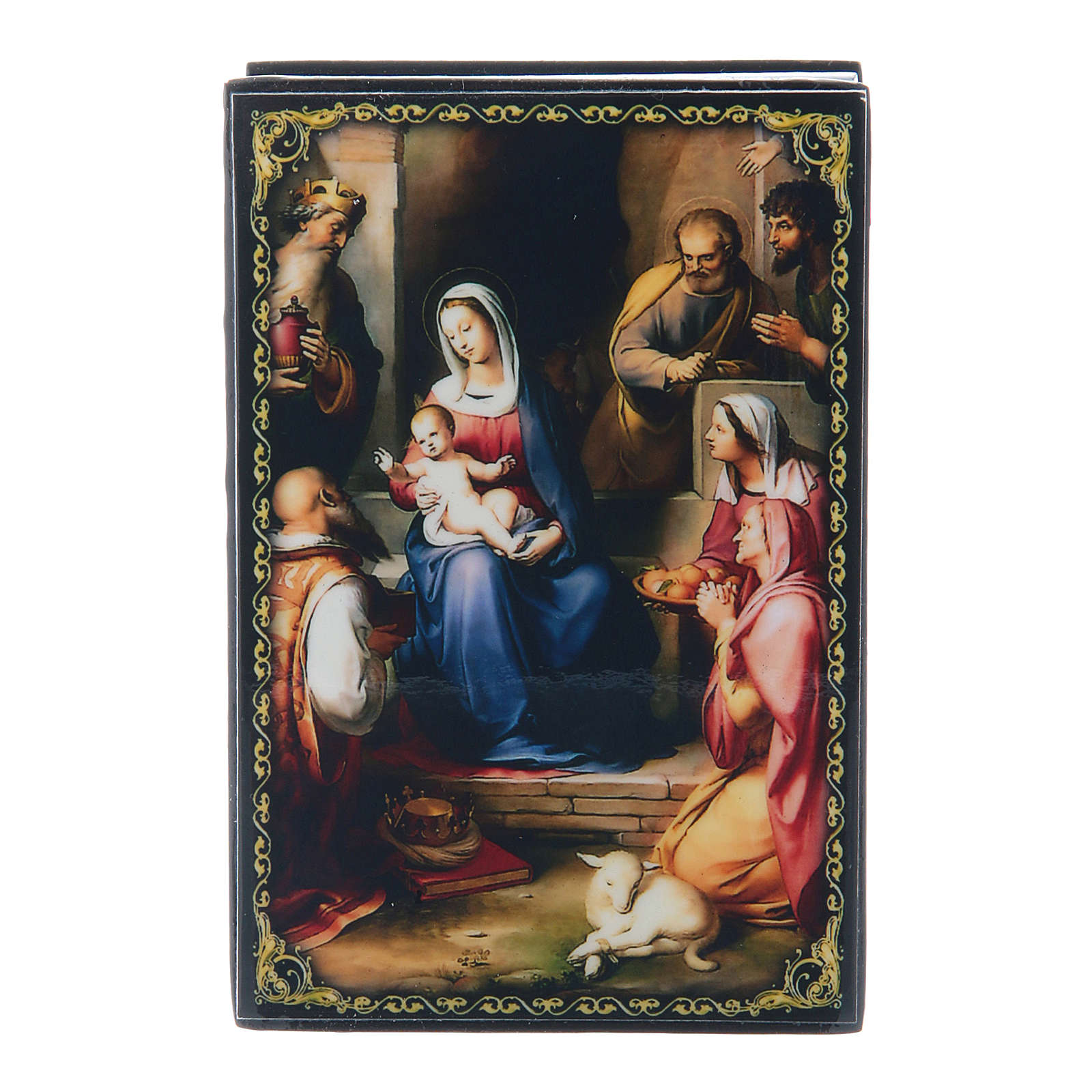 Russian lacquer box, Gerburt Christi (The Nativity) 9x6 cm 4