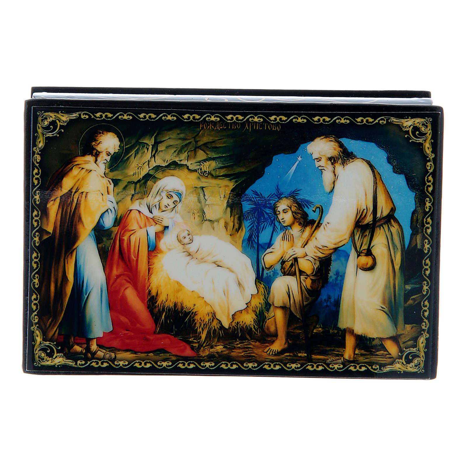 Scatola decorata russa La Nascita di Gesù Cristo 9X6 cm 4