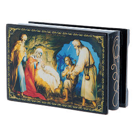 Scatola decorata russa La Nascita di Gesù Cristo 9X6 cm s2
