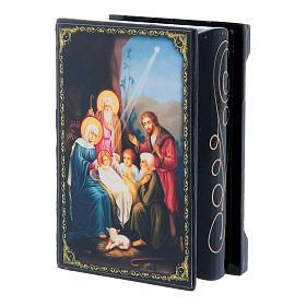 Russian lacquer box, Nativity scene 9x6 cm s2