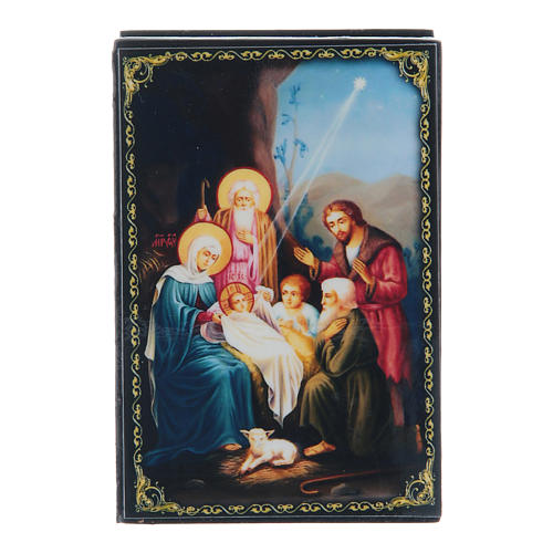 Russian lacquer box, Nativity scene 9x6 cm 1