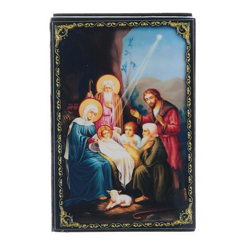 Lacca russa decoupage La Nascita di Gesù Cristo 9X6 cm 1