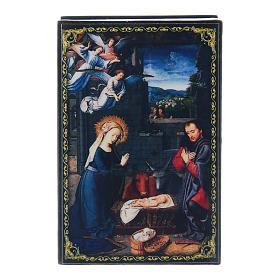 Russian enamel box, The Nativity 9x6 cm s1