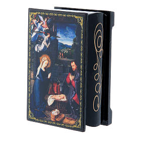 Russian enamel box, The Nativity 9x6 cm s2