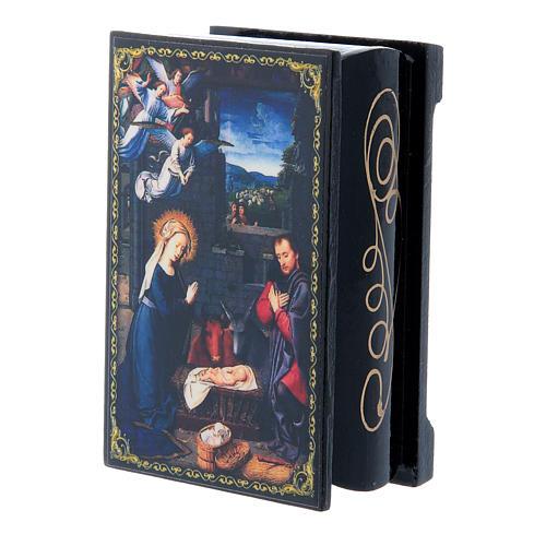 Russian enamel box, The Nativity 9x6 cm 2