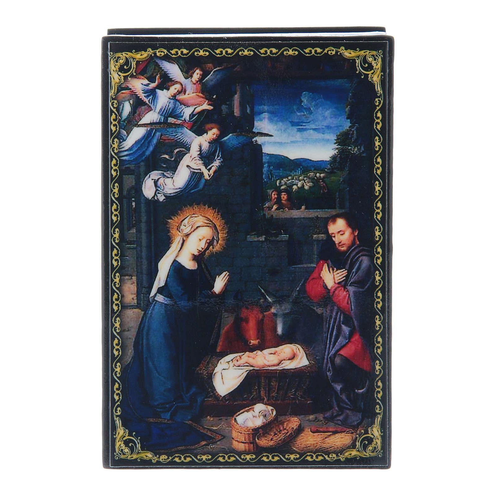 Russian enamel box, The Nativity 9x6 cm 4