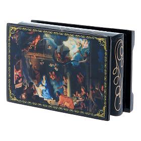 Boîte russe papier mâché La Naissance de Jésus Christ et Adoration des Mages 9x6 cm s2