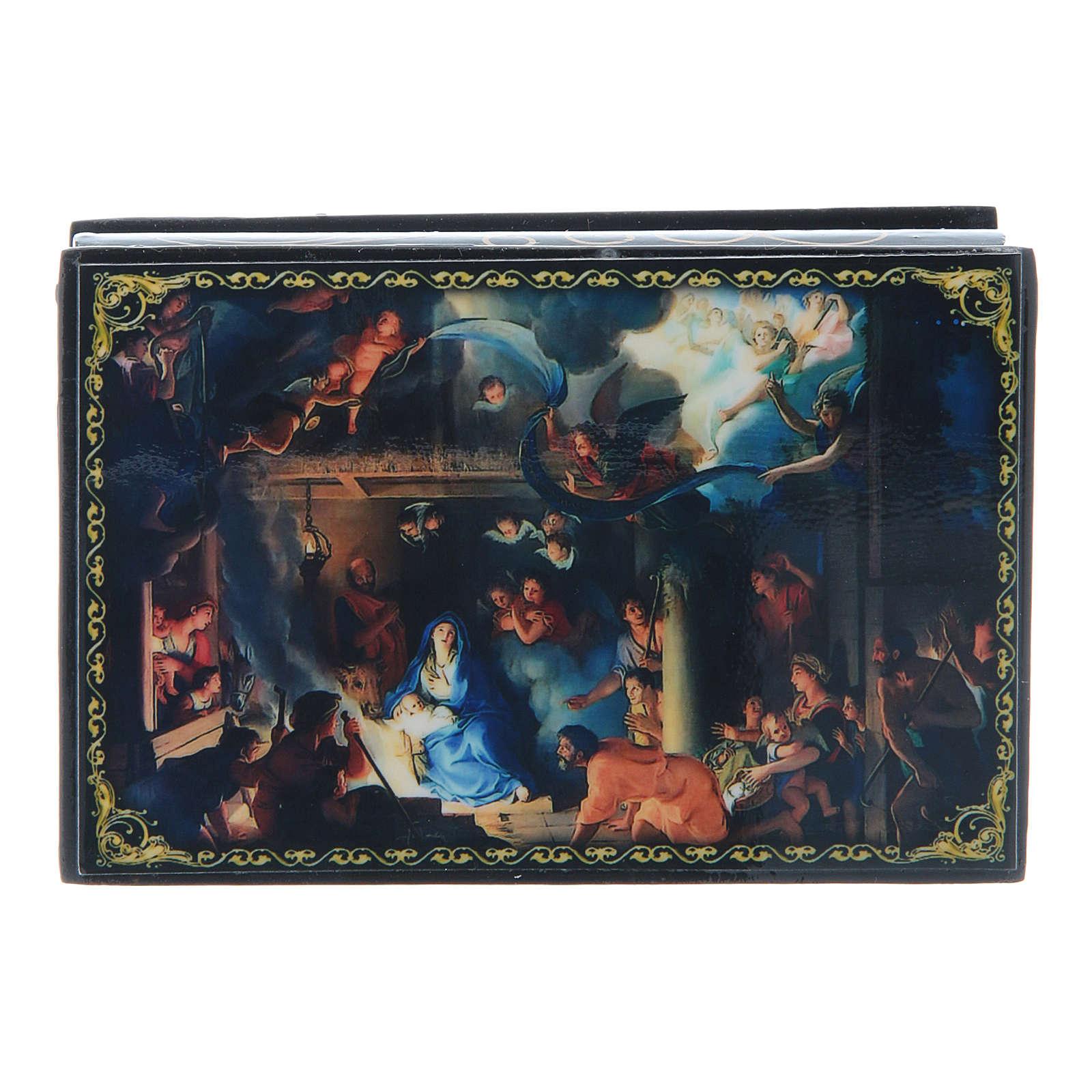 Scatola russa papier machè La Nascita di Gesù Cristo e Adorazione dei Magi 9X6 cm 4