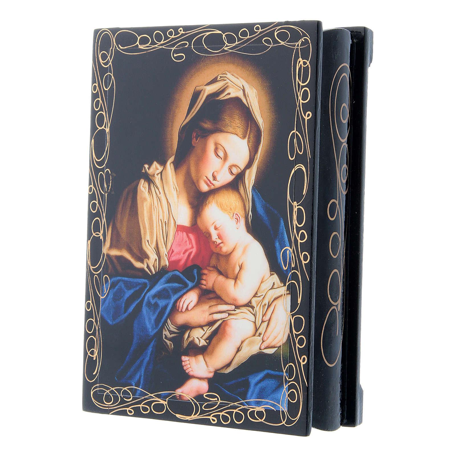 Lacca russa cartapesta Madonna col Bambino 14X10 cm 4