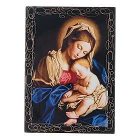 Lacca russa cartapesta Madonna col Bambino 14X10 cm s1