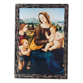 Laca russa papel-machê Virgem com o Menino São João Batista e Anjos 14x10 cm s1
