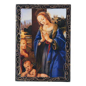 Russian papier-mâché and lacquer box Madonna adoring the Child 14x10 cm s1