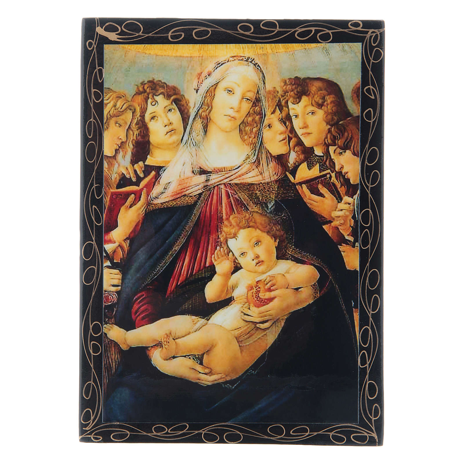 Lacca cartapesta russa La Madonna della melagrana 14X10 cm 4