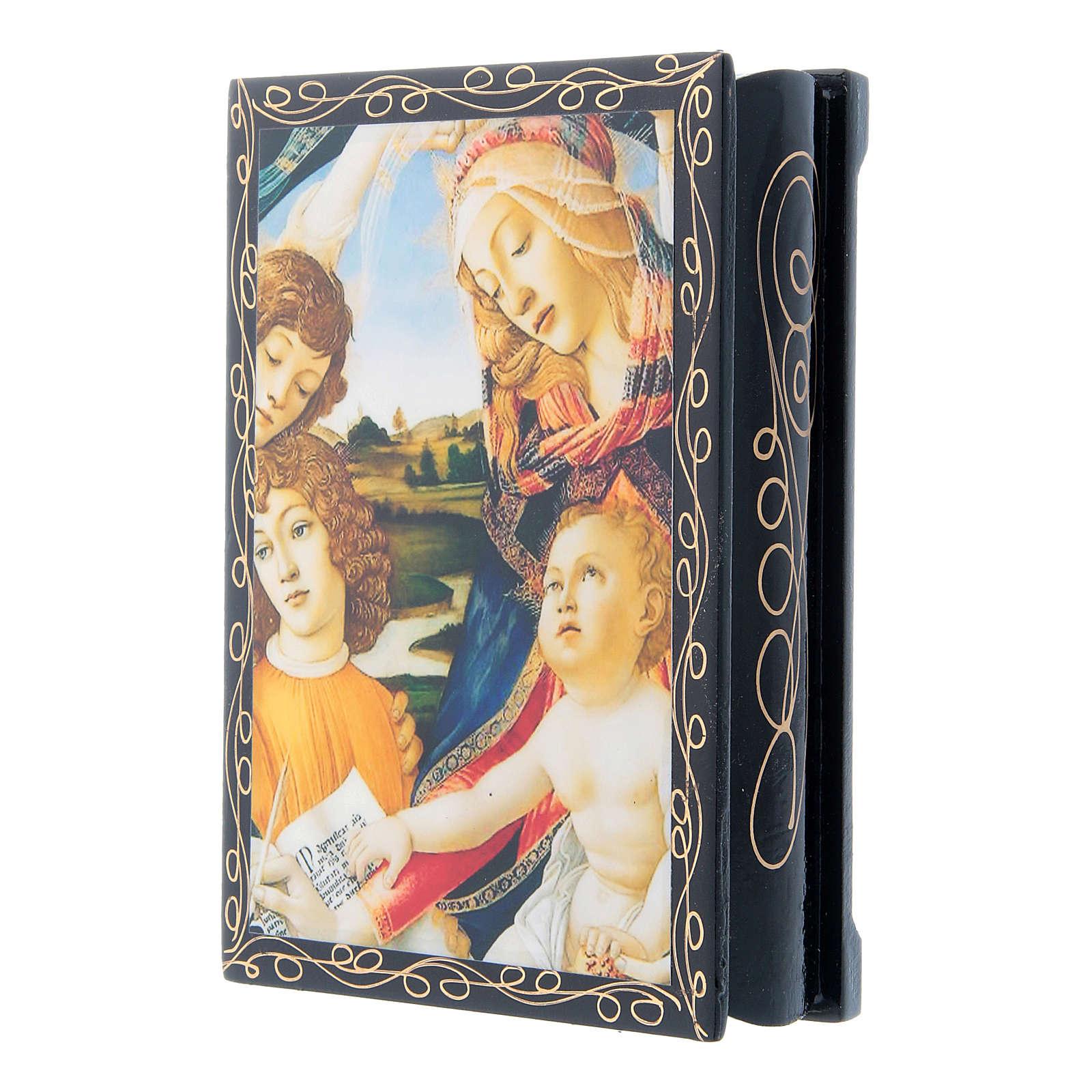 Russian papier-mâché and lacquer box Madonna of the Magnificat 14x10 cm 4
