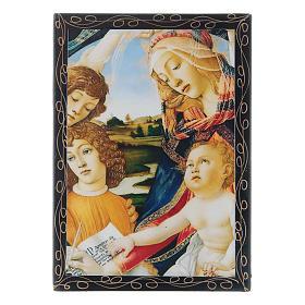 Russian papier-mâché and lacquer box Madonna of the Magnificat 14x10 cm s1