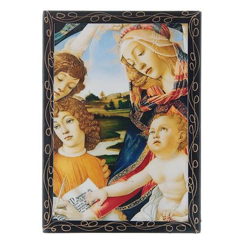 Russian papier-mâché and lacquer box Madonna of the Magnificat 14x10 cm 1