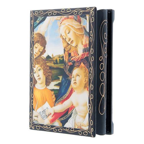 Russian papier-mâché and lacquer box Madonna of the Magnificat 14x10 cm 2