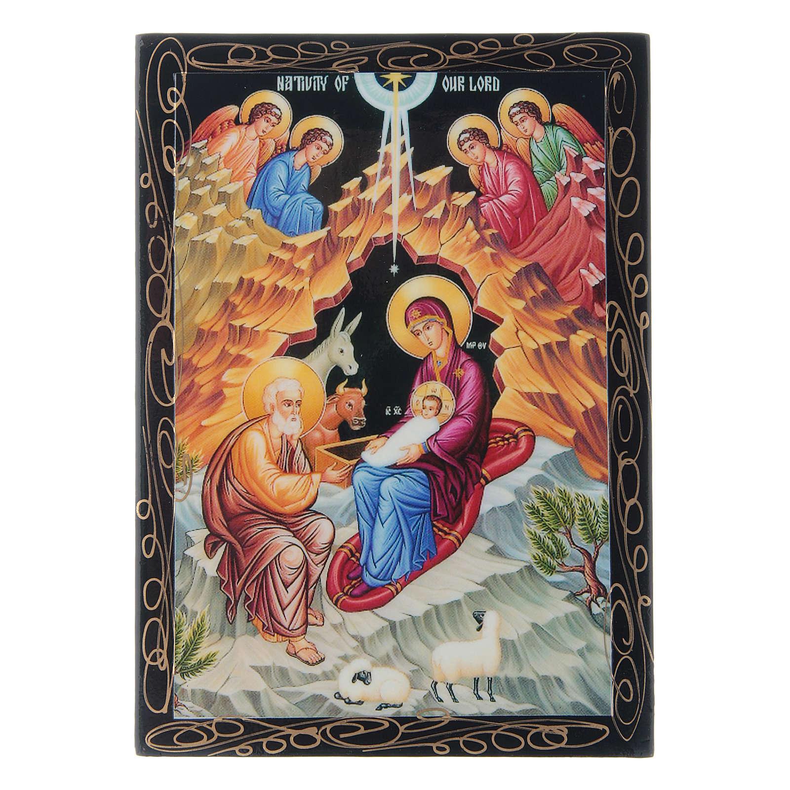 Scatoletta russa papier machè La Nascita di Gesù Cristo 14X10 cm 4