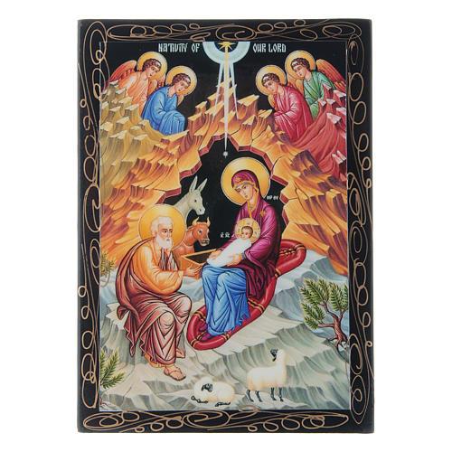 Scatoletta russa papier machè La Nascita di Gesù Cristo 14X10 cm 1