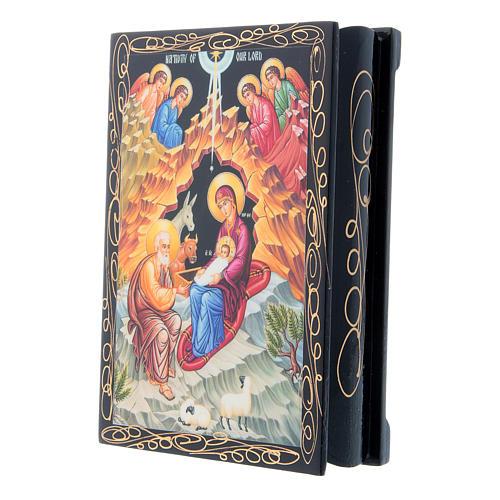 Scatoletta russa papier machè La Nascita di Gesù Cristo 14X10 cm 2