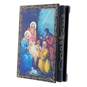 Scatoletta russa dipinta La Nascita di Gesù Cristo 14X10 cm s2