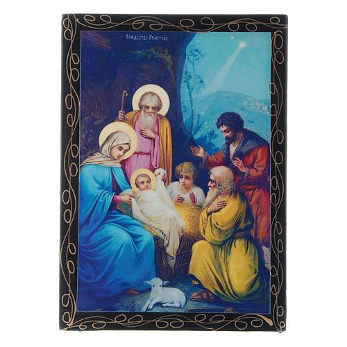 Scatoletta russa dipinta La Nascita di Gesù Cristo 14X10 cm 1