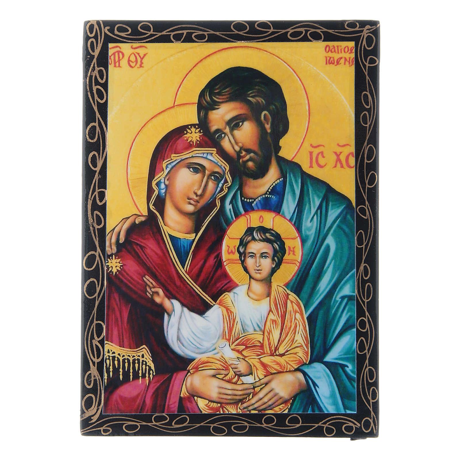 Scatola russa decoupage Sacra Famiglia 14X10 cm 4