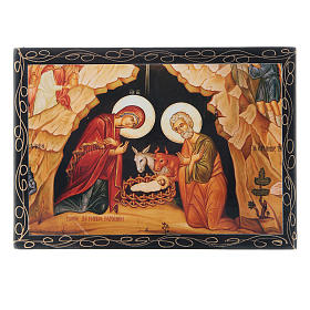 Russian papier-mâché and lacquer painted box The Nativity of Christ 14x10 cm s1