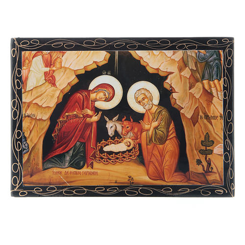 Russian papier-mâché and lacquer painted box The Nativity of Christ 14x10 cm 1