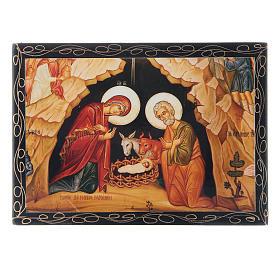 Scatoletta decorata russa La Nascita di Gesù Cristo 14X10 cm s1