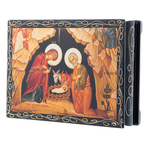Russian papier-mâché and lacquer painted box The Nativity of Christ 14x10 cm 2
