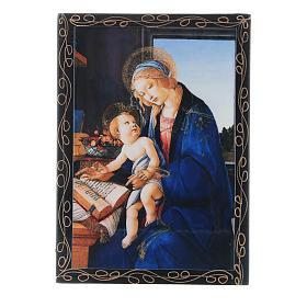 Lacca papier machè russa La Madonna del Libro 14X10 cm s1