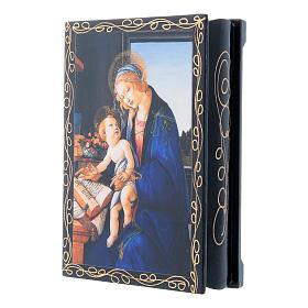 Lacca papier machè russa La Madonna del Libro 14X10 cm s2