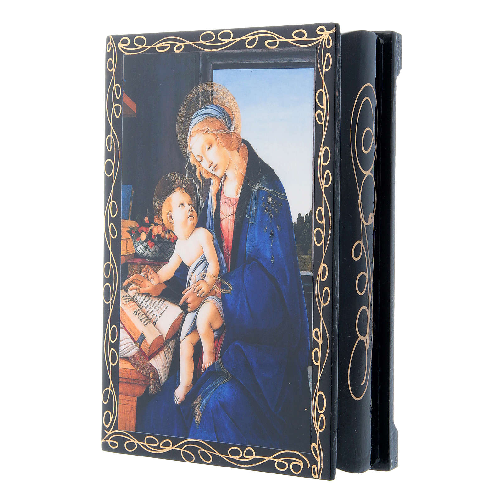 Russian papier-mâché and lacquer painted box Madonna of the Book 14x10 cm 4