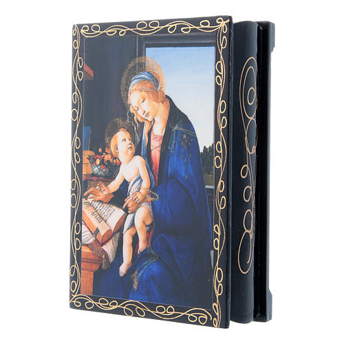 Russian papier-mâché and lacquer painted box Madonna of the Book 14x10 cm 2