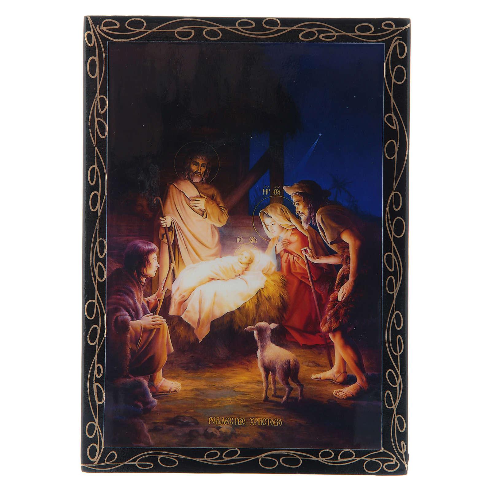 Lacca russa decorata La Nascita di Gesù Cristo 14X10 cm 4