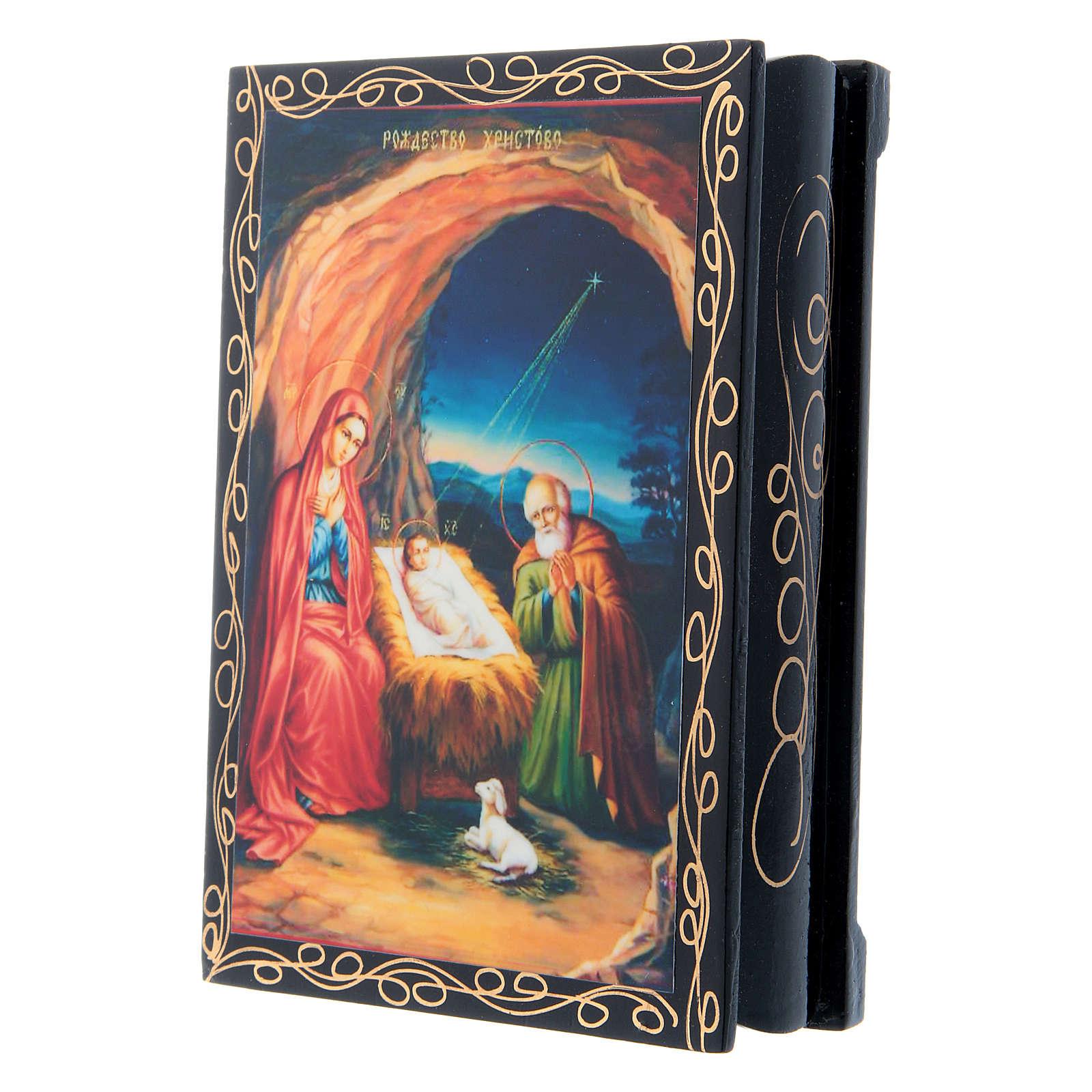 Scatoletta russa cartapesta La Nascita di Gesù Cristo 14X10 cm 4