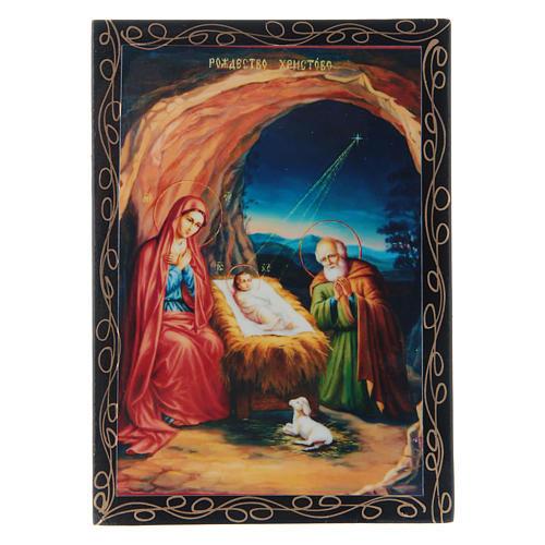 Scatoletta russa cartapesta La Nascita di Gesù Cristo 14X10 cm 1