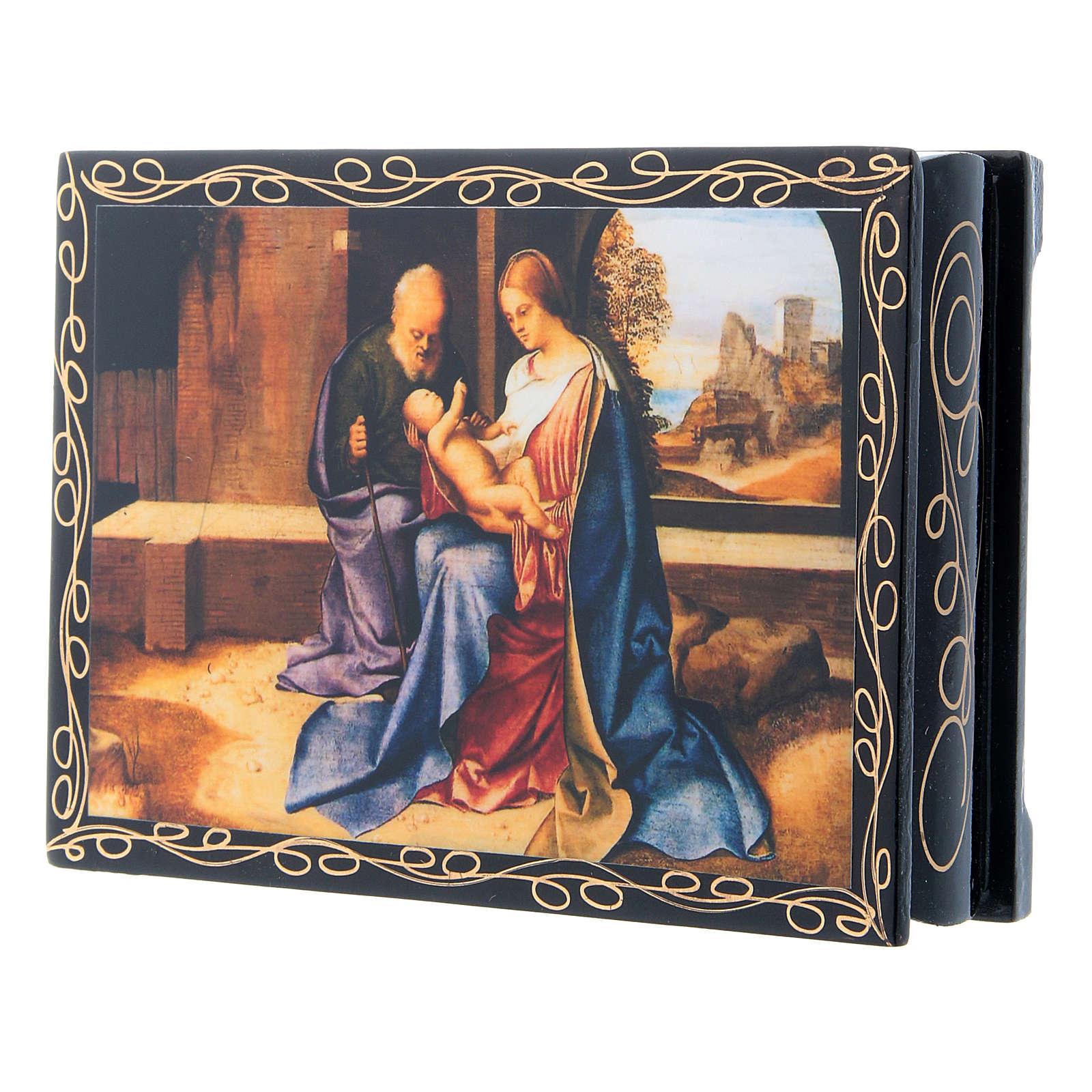 Russian papier-mâché and lacquer painted box The Nativity of Jesus 14x10 cm 4