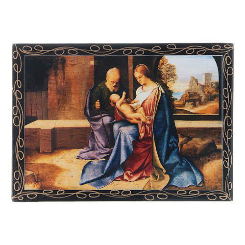 Russian papier-mâché and lacquer painted box The Nativity of Jesus 14x10 cm 1