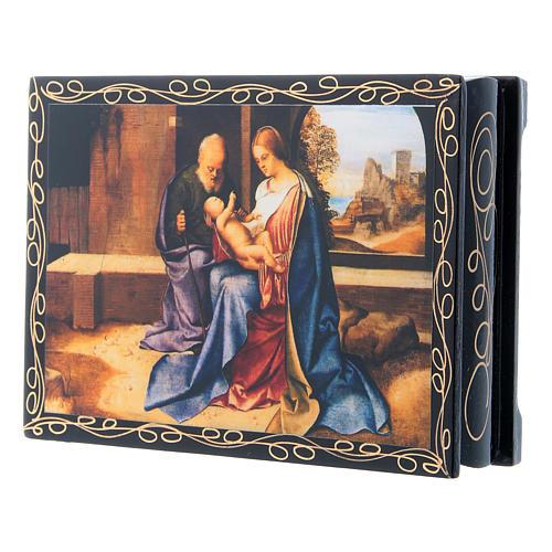 Russian papier-mâché and lacquer painted box The Nativity of Jesus 14x10 cm 2