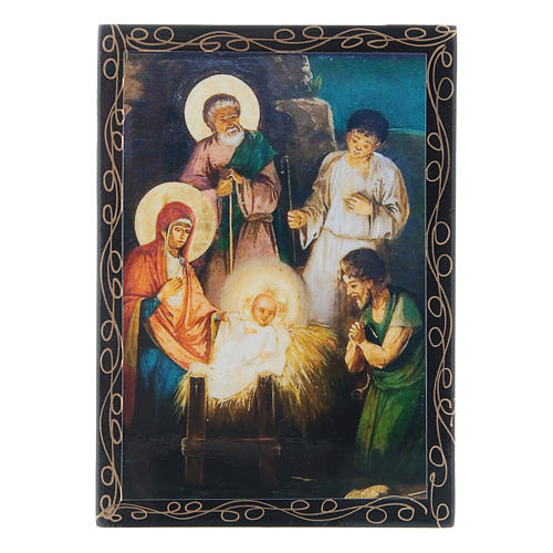 Russian papier-mâché and lacquer painted box The Nativity of Jesus Christ 14x10 cm 1